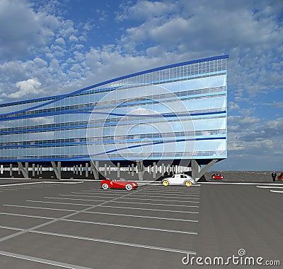 Abbozzo 3D di costruzione commerciale moderna