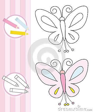 Abbozzo del libro di coloritura: farfalla