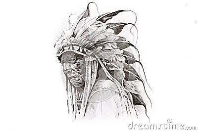 abbozzo del tatuaggio del guerriero dell 39 indiano dell 39 nativo americano fotografie stock libere. Black Bedroom Furniture Sets. Home Design Ideas