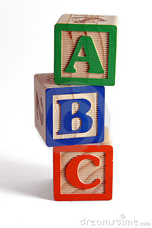 ABC blocks stacked vertically