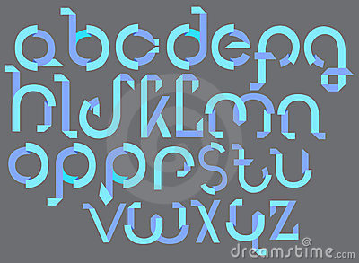 ABC blue font from paper tape