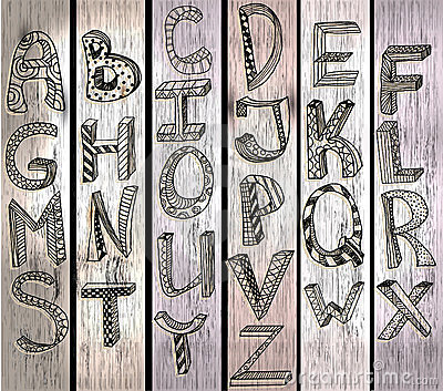ABC, hand drawn alphabet over wood texture