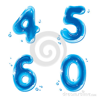 Free ABC Series - Water Liquid Numbers - 4 5 6 0 Stock Photography - 26075562