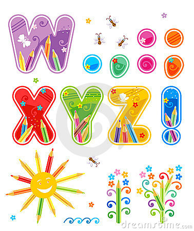 Abc set letters W - Z plus