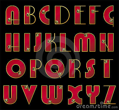 ABC. Vector font. Ornate initials in gold