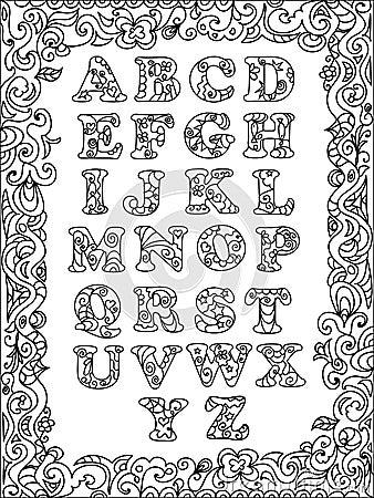 Alfabet Letters Kleurplaten Abc Zentangle Mit Rahmen Stock Abbildung Bild 54746971