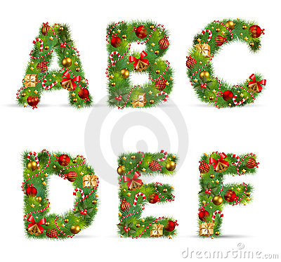 Free ABCDEF,  Christmas Tree Font Stock Photo - 17325470