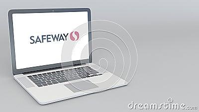 Abertura e portátil de fechamento com logotipo de Safeway Inc animação do editorial 4K ilustração stock