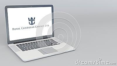 Abertura y ordenador portátil de cierre con el logotipo de Royal Caribbean Cruises Ltd animación del editorial 4K ilustración del vector
