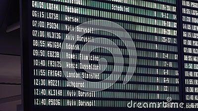 Abfahrtstafel am Flughafen Zeitplan der Fluginformationen elektronisch stock video footage