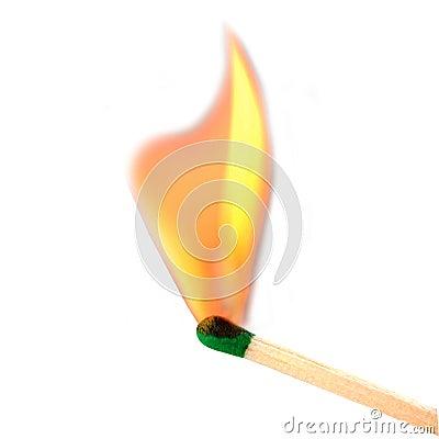Abgleichung, die zur Flamme birst
