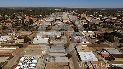 Abilene Texas Downtown City Skyline Aerial Mening stock videobeelden