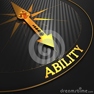 Ability Concept on Black with Golden Compass. Stock Photo