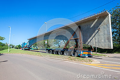 Construction Truck Trailer Bridge Section Editorial Image