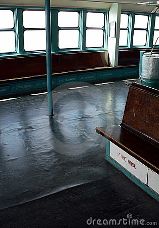 Aboard the ship -- Empty Staten Island Ferry in use in New York City