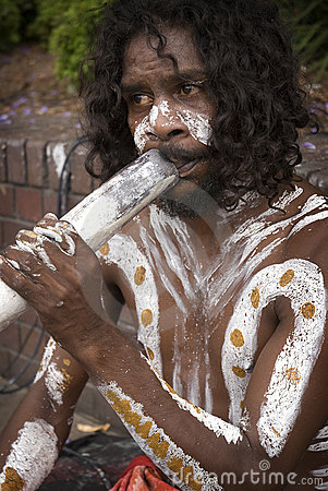 Aboriginal and didgeridoo Editorial Photo