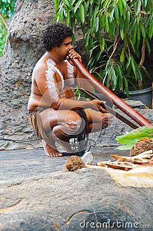 Free Aboriginal Performer With Didgeridoo Stock Photos - 30023643