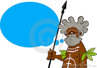 Aborigine with thought balloon