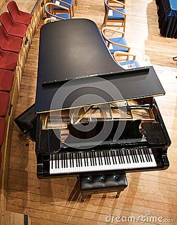 Above a grand piano