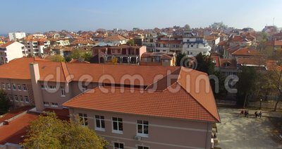 Above the roofs of the old Pomorie in Bulgaria stock video footage