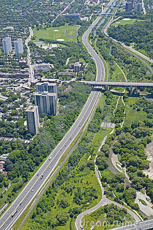 Free Above Toronto - Don Valley Parkway Stock Image - 8087001