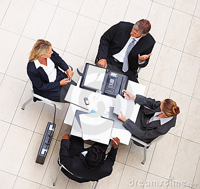 Above view of business colleagues during a meeting