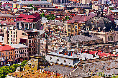 Above view on Lviv Ukraine