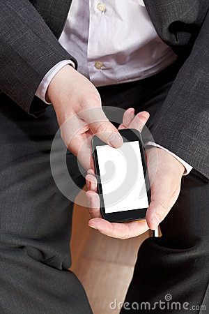 Above view of smartphone in male hands