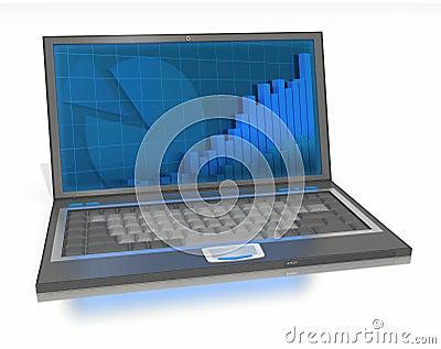 Abra la computadora portátil con los gráficos y las barras en pantalla