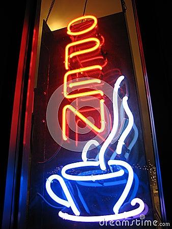 Abra o sinal de néon do café