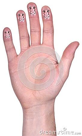 Abra o sorriso engraçado da mão, dedos de sorriso, isolados