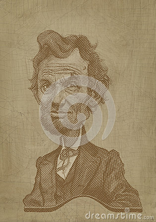 Abraham Lincoln sepia caricature engraving style Editorial Photography