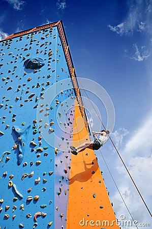 Abseiling climbing wall