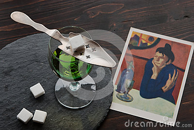 Absinthe in a glass Editorial Photography