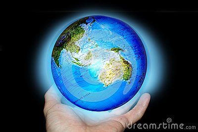 Abstrac with hands and planet