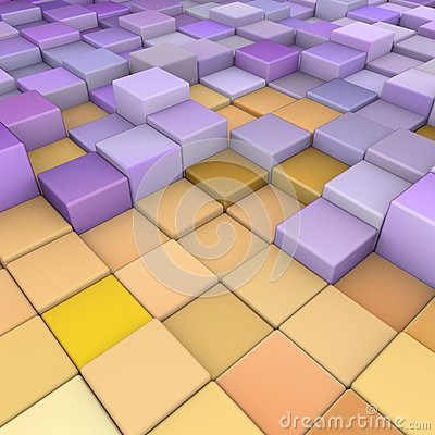 Abstract 3d backdrop in orange yellow purple
