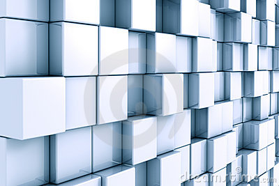 Abstract 3D background with chrome and cubes