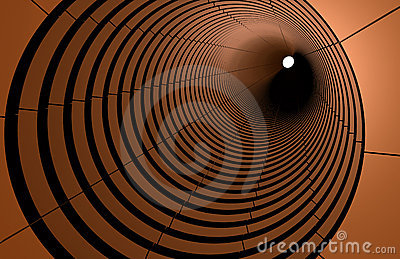 Abstract 3d circles connect in perspective