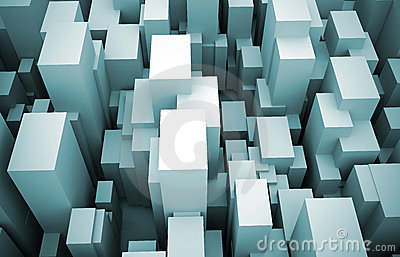 Abstract 3d city blocks rising