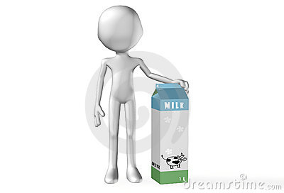 Abstract 3D man with a milk pack
