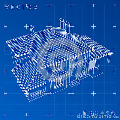 Free Abstract 3D Render Of Building Wireframe - Vector Illustration Royalty Free Stock Photography - 78390917