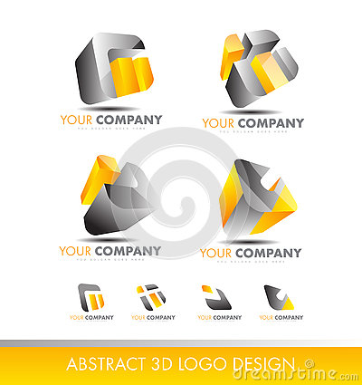 Free Abstract 3d Set Logo Cube Icon Yellow Grey Stock Photo - 76796570
