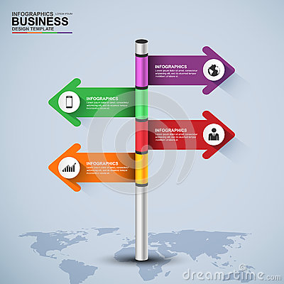 Free Abstract 3d Signpost Infographic Design Template Royalty Free Stock Photography - 57308567