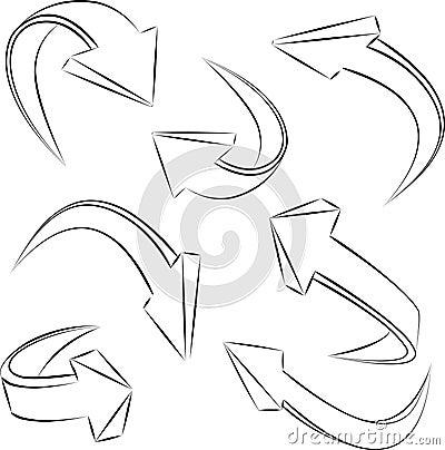 Abstract 3D sketchy arrows sketchy . set