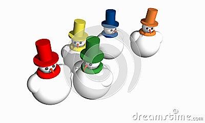 Abstract 3D snowmen