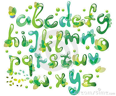 Abstract ABC,green alphabet with leaves