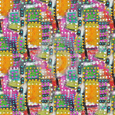 Free Abstract Acrylic Artistic Colored Polka Dot Seamless Pattern In The Form Of Squares. Royalty Free Stock Images - 62088469