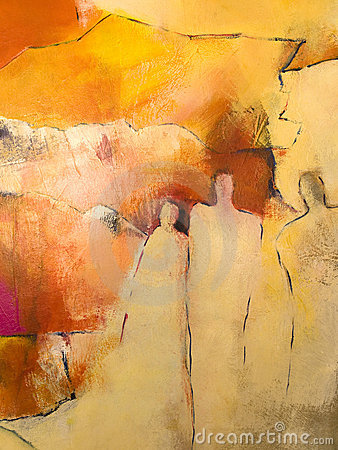 Abstract acrylic painting of a group of people