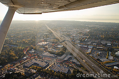 Abstract Airplane View of Highway and Sun