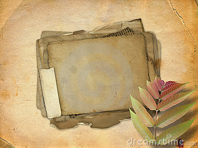 Abstract ancient brown background with paper